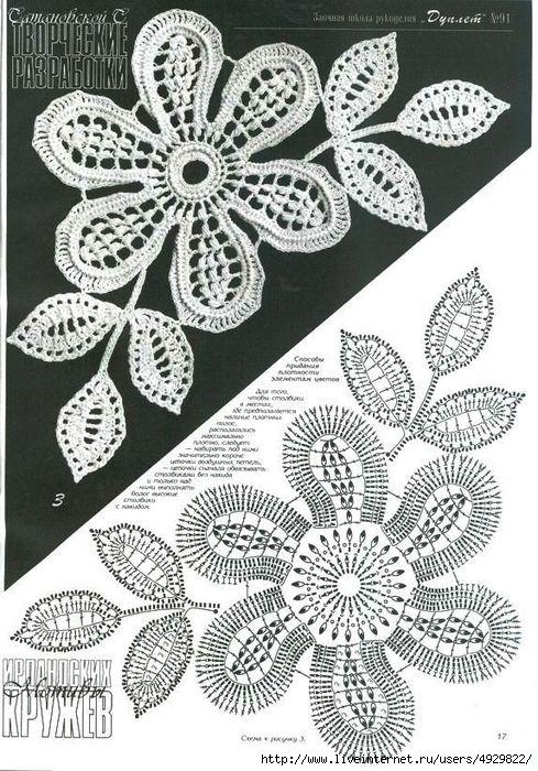 Цветы ирландского кружева крючком схемы.