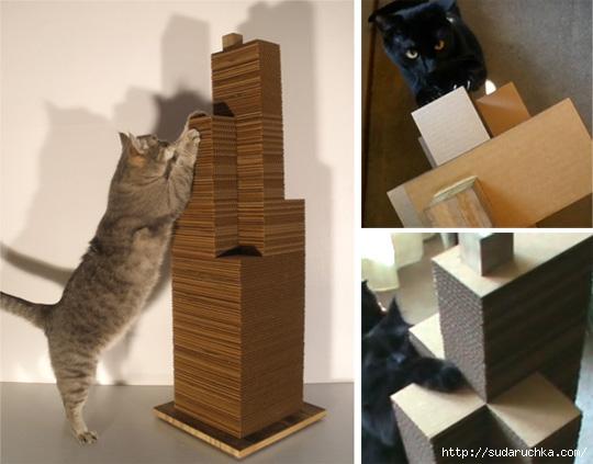 Когтеточки и домик для кошек своими руками