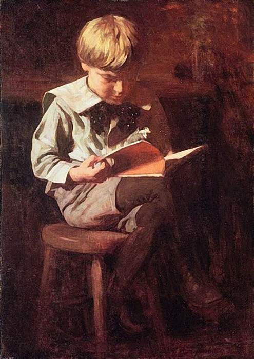 Anshutz, Boy (Ned A) Reading c1900 (495x700, 51Kb)