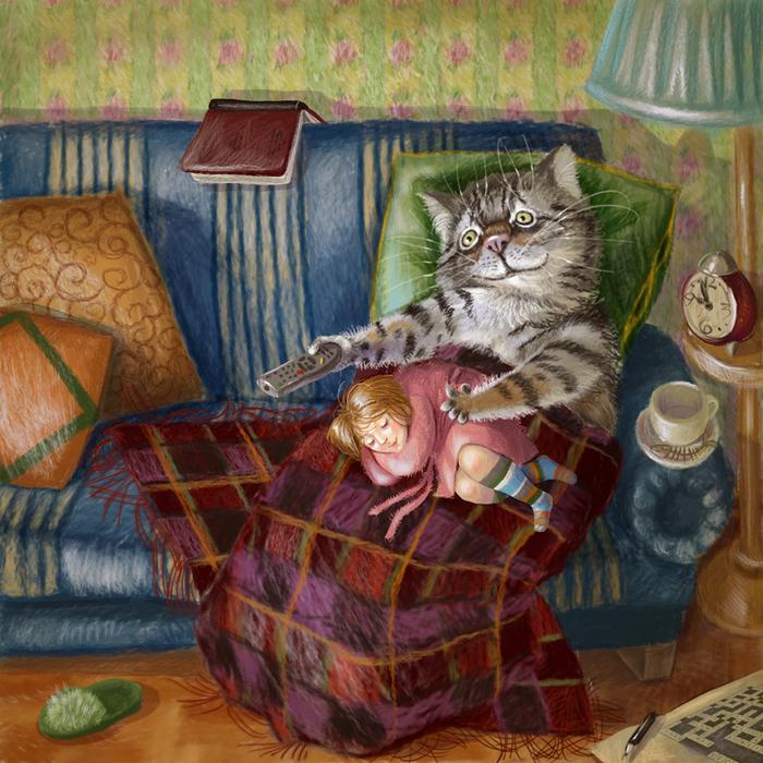 Открытки спокойной ночи смешные зимние котики