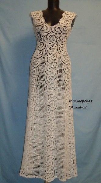 Связать платье ленточным кружевом