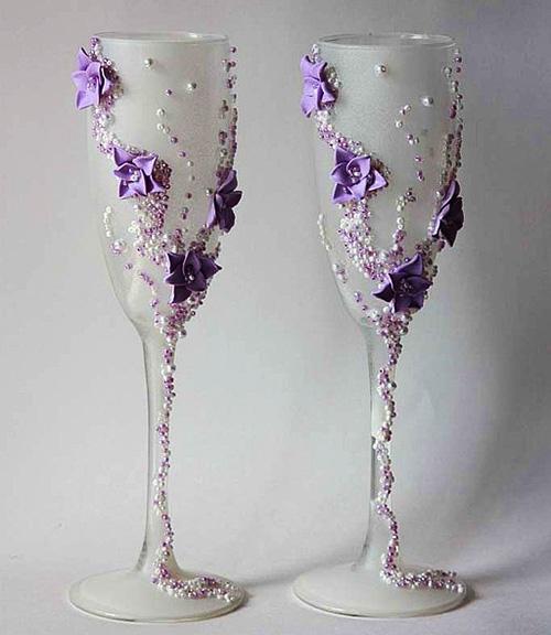 Идеи украшения свадебных бокалов - Самые красивые и креативные украшения здесь