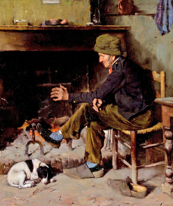 Benjamin_West_Clinedinst_-_Man_with_his_Dog_before_a_Hearth (588x700, 445Kb)