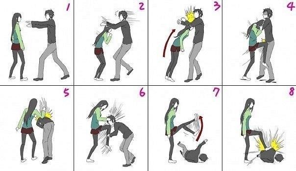 приёмы самообороны в картинках для девушек