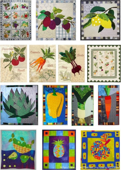 fruit and vegetable quilts montage, quiltinspiration.blogspot.com (500x700, 335Kb)