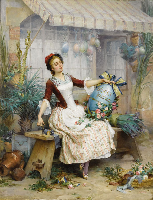 PIERRE OUTIN (1840-1899) - The Easter Eggs (536x700, 106Kb)