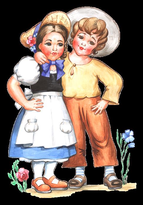 Открытке саратов, картинка с изображением девочки и мальчика