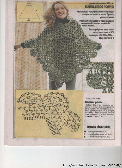 Накидка пончо крючком схемы и описание фото