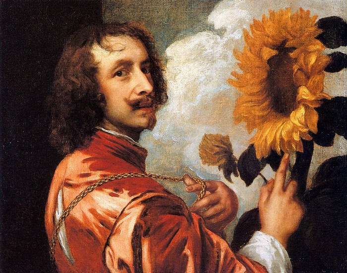 Антонис Ван Дей.Self-Portrait With a Sunflower (700x552, 153Kb)