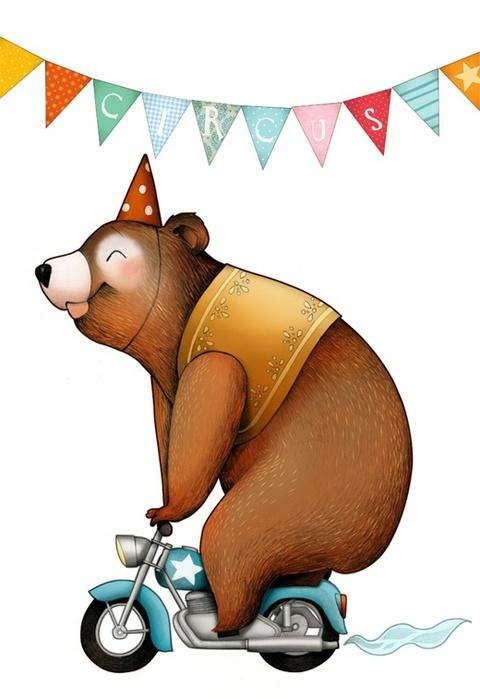 писал картинки афиш медведей на мотоциклах может
