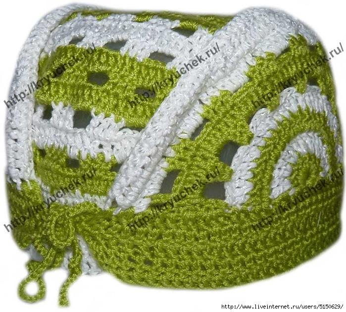 вязание крючком летней детской шапочки банданы самое интересное