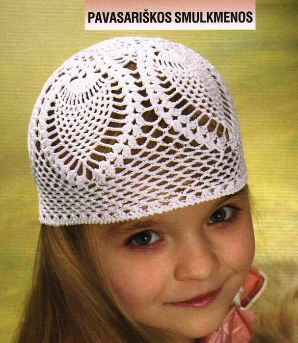 детские ажурные шапочки крючком схемы