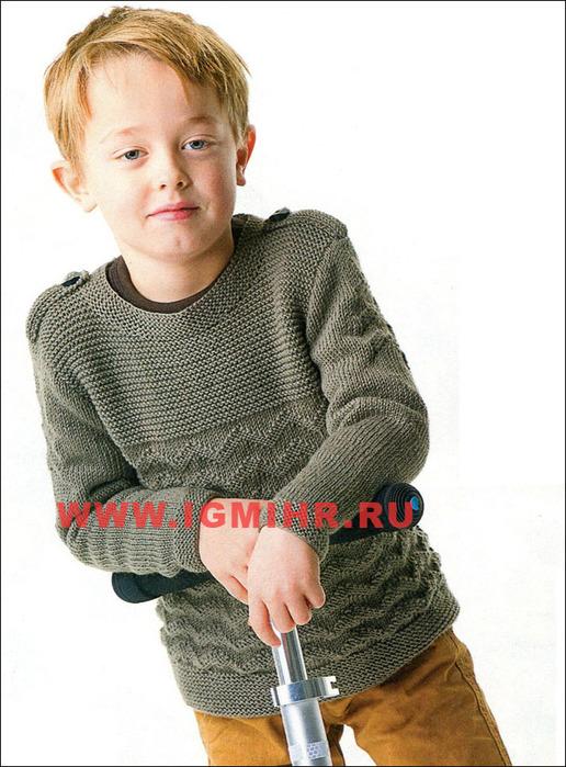 пуловер цвета хаки с погонами и рельефным узором от финских