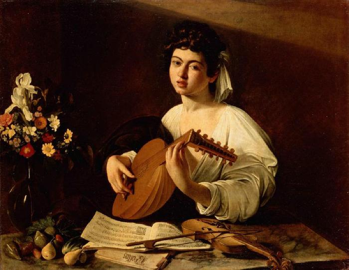 Caravaggio Michelangelo Merisi da - The Lute-Player with number (700x542, 52Kb)
