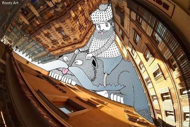 Тома Ламадью. Sky Art – рисунки на фотографиях неба, домов и крыш
