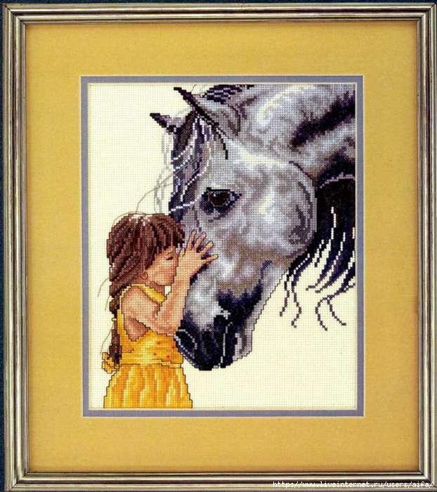 Девочка с лошадью, набор для вышивки, арт. СВ-016 Золотое 92