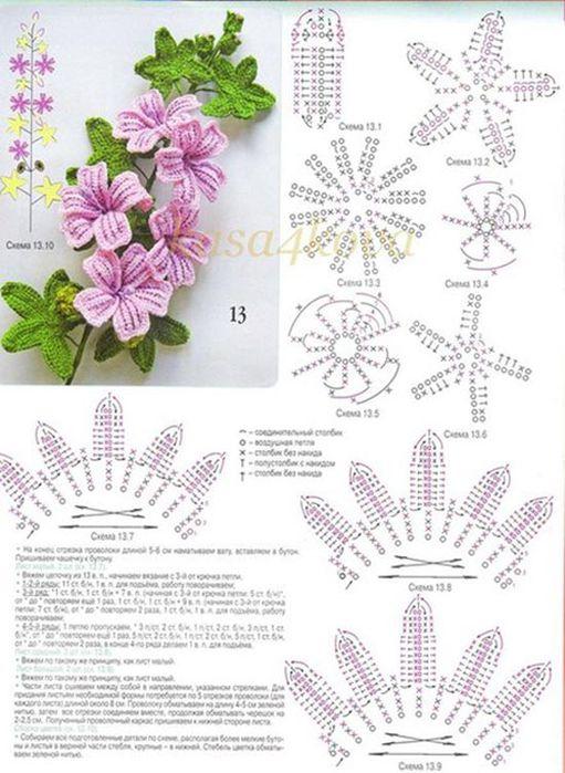 вязаные цветы крючком схемы бесплатно