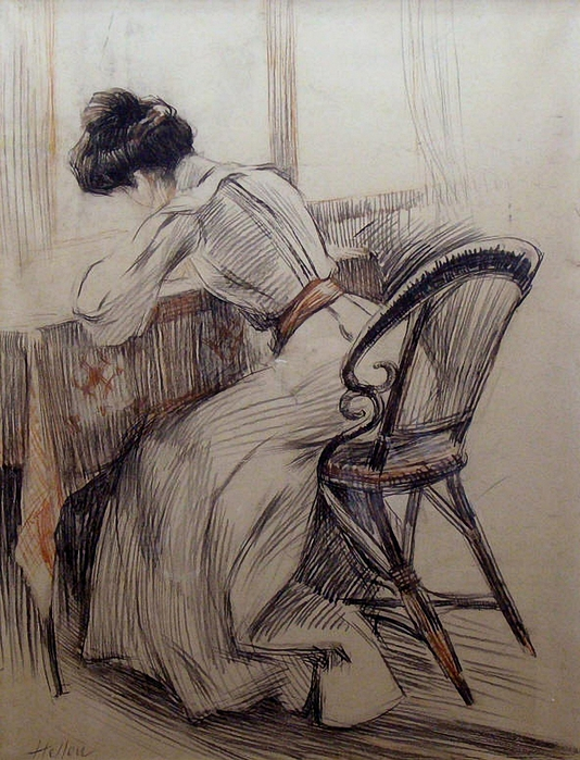 Paul César Helleu, French 1859-1927 - The Love Letter (534x700, 324Kb)