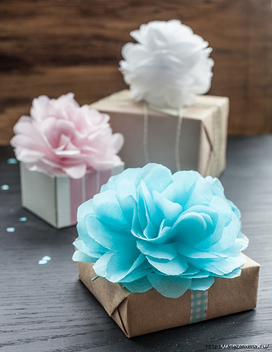 paper tissue pom poms Hanging pom poms made out of tissue paper are pretty decorations for a party, wedding, or use for home decor the pompoms can be made out of different colors of tissue paper or other materials such as cupcake wrappers or fabric.
