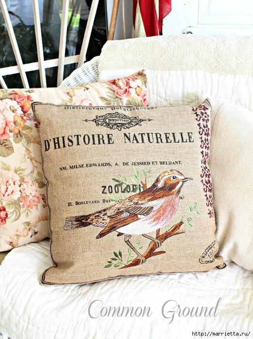 вышивка гладью на мешковине. подушки с птичками и бабочками (3) (522x700, 363Kb)
