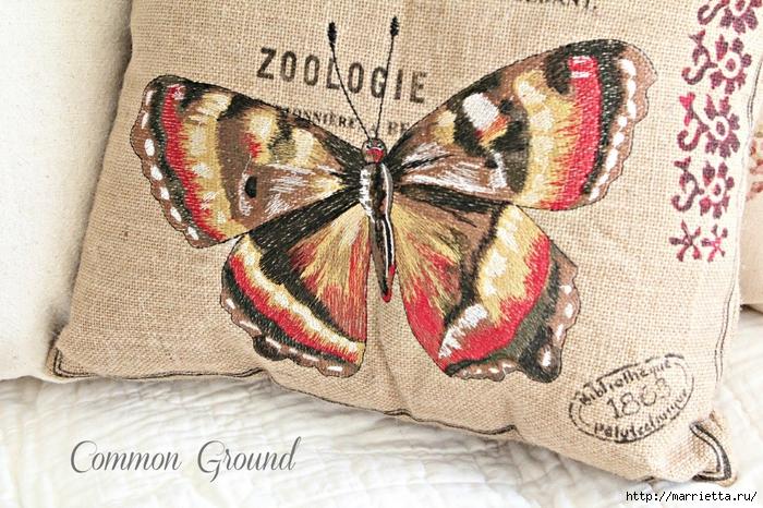 вышивка гладью на мешковине. подушки с птичками и бабочками (7) (700x466, 363Kb)