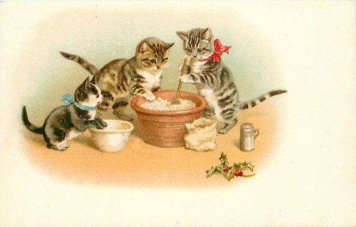 Поздравлением днем, открытки с котятами ретро