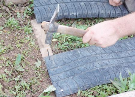 Садовая дорожка из старых шин своими руками