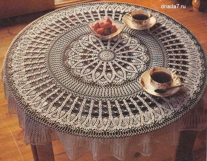Скатерть крючком на круглый стол | все-вязание.