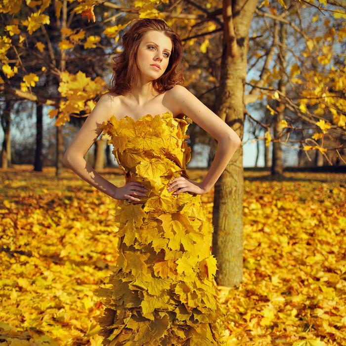 фото с листом клена как платье цвет сочетает себе