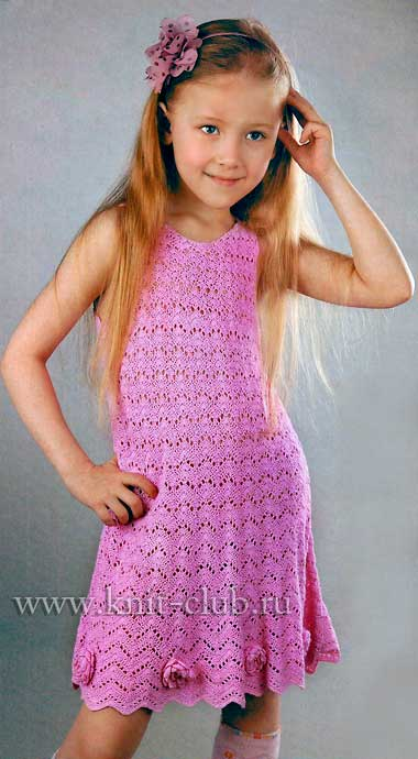 Вязаное крючком платье на девочку 3 лет