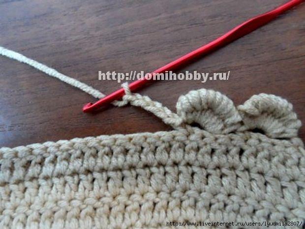 Обвязка края крючком вытянутыми петлями