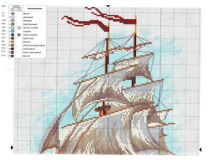 Вышивка корабль схема скачать фото 78