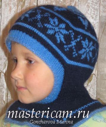 Вязанная шапка по голове 130