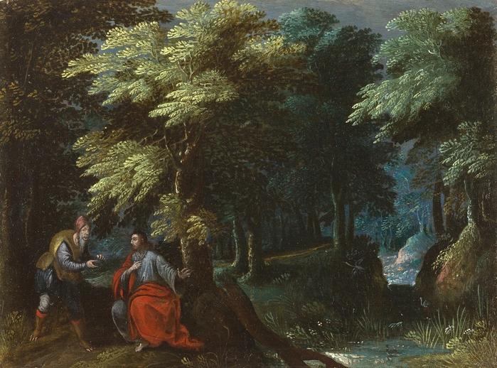 Лесной пейзаж с искушением Христа (Waldlandschaft mit der Versuchung Christi) Частное собрание