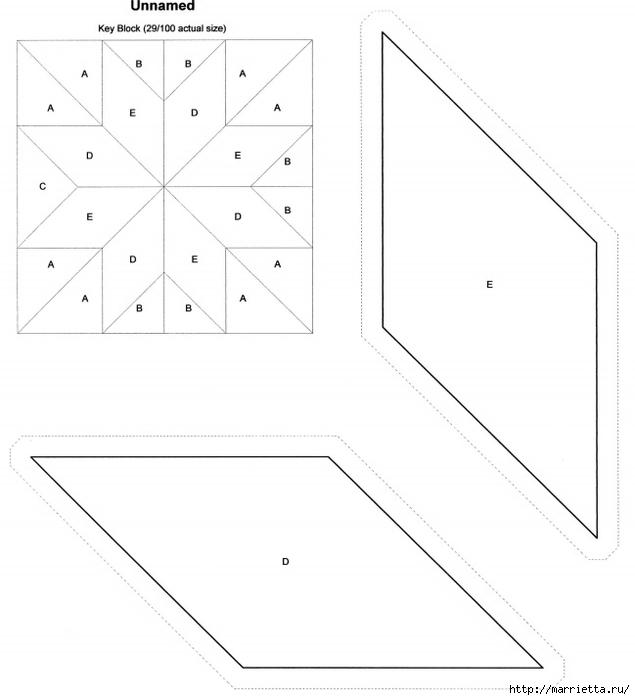 Лоскутный квилт. Блок ЗВЕЗДА (16) (635x700, 124Kb)