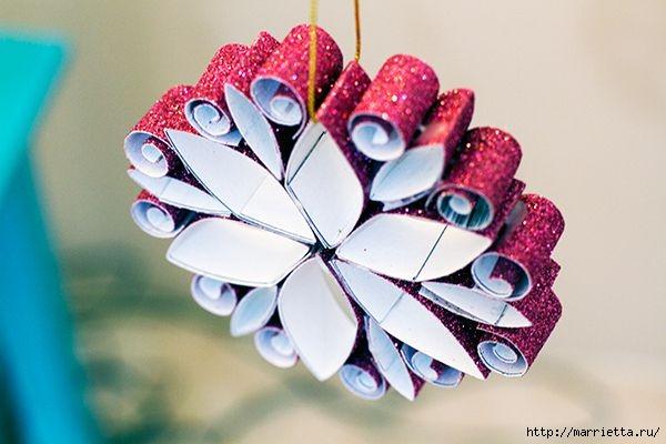 Рождественские звезды из декоративной металлизированной бумаги (6) (600x400, 119Kb)