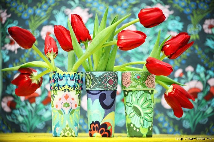 Интерьерные стаканы своими руками. Декупаж тканью (1) (700x466, 304Kb)