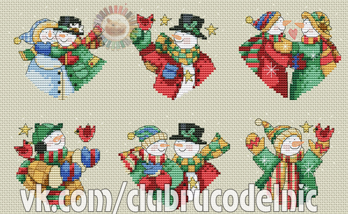 Snowman Hearts Ornaments (700x429, 503Kb)