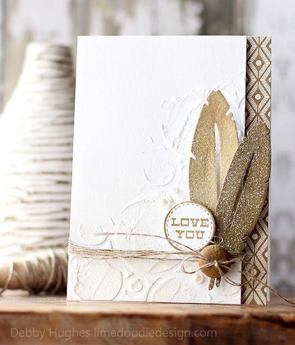 Подарок, скрапбукинг открытка с перьями