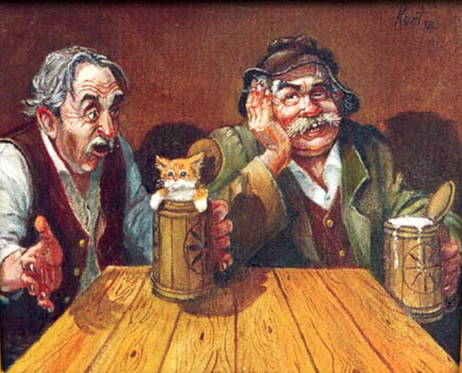 Для открытки, смешные рисунки на тему пива