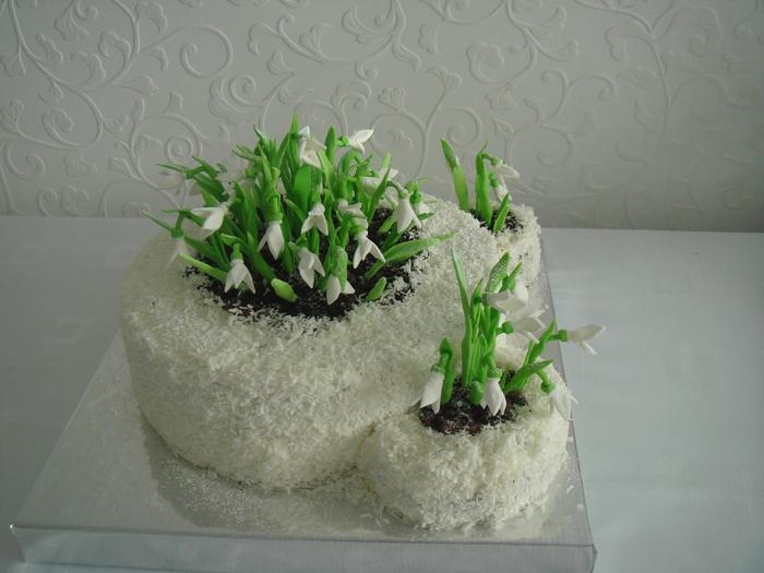 этом торт украсить подснежниками из сливок фото игруля этих