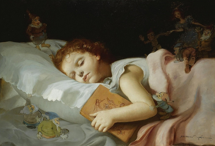 Mária Szánthó (1898-1984 Sweet dreams of snow white and the seven dwarves (700x475, 233Kb)