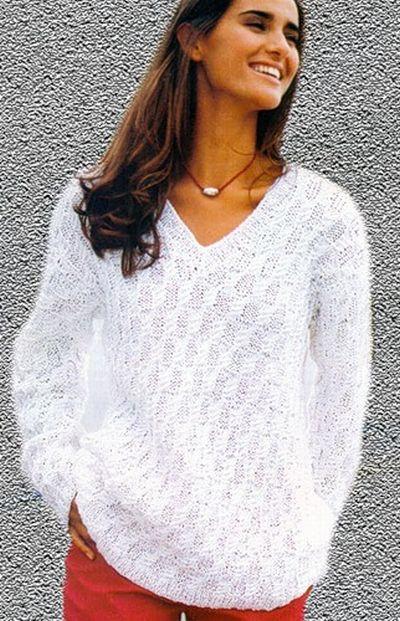 схемы вязания белых свитеров
