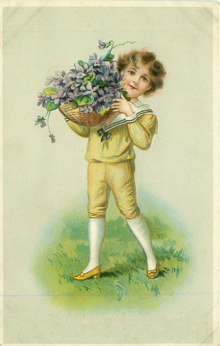 Открытки мальчик с букетом