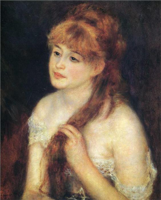 Молодая женщина плетение ее волос, 1876 (564x700, 53Kb)