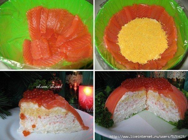 Смотреть Торт салат с красной рыбой видео