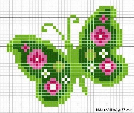 Бабочки Схемы вышивки крестом: только бабочки 23