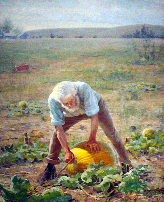 Farmer With Pumpkin, 1890. Charles Frederick Naegele (1857-1944). (570x700, 575Kb)