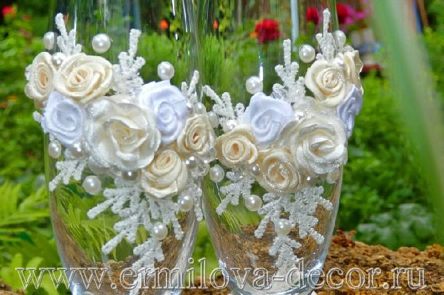 Декор свадебных бокалов своими руками мастер класс - Master class