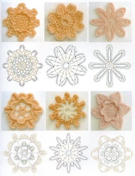 вязание цветов и бабочек крючком схемы